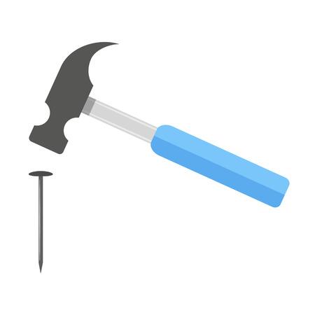 marteau frappe l'ongle. isolé sur fond blanc. design plat moderne illustration vectorielle