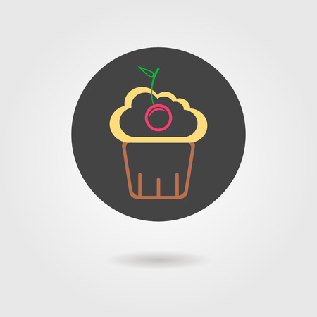 cupcake in black circle with shadow. flat design modern vector illustration Vector