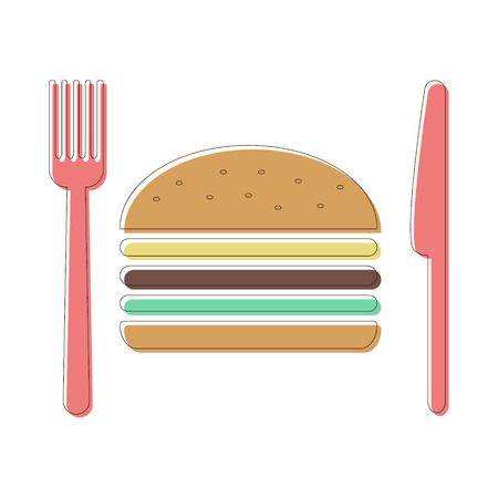 restaurant rapide: couverts et hamburger ic�ne. concept de restauration rapide menu du restaurant. isol� sur fond blanc. conception course de style moderne vecteur illustration