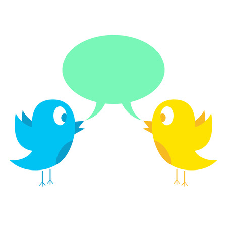 tweeting: two birds tweeting. concept of social media and web. isolated on white background. vector illustration