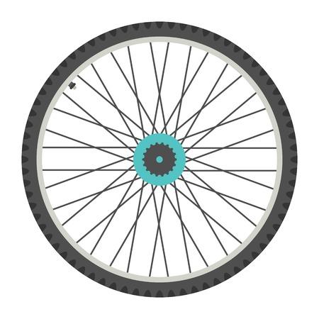 Rueda de la bicicleta en el estilo plano. aislado en el fondo blanco. ilustración vectorial Foto de archivo - 35084985