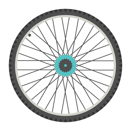 bicycle wheel in flat style. isolated on white background. vector illustration