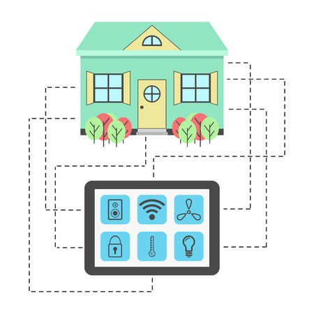 centralized: concept of smart house technology system with centralized control of heating, lighting, ventilation, security, music and wireless. flat design modern vector illustration