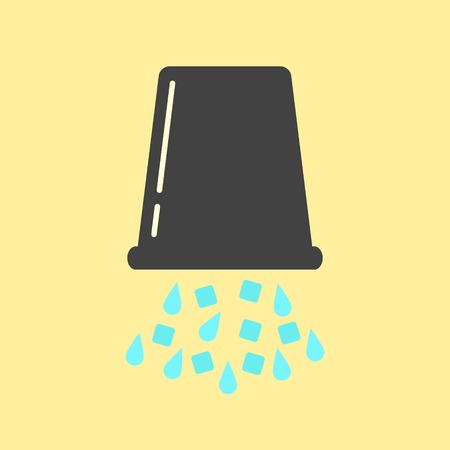 inverted black bucket with ice and water. concept of ice bucket challenge. isolated on yellow background. vector illustration