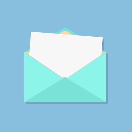 offenen Umschlag mit weißen Blatt. isoliert auf blauem Hintergrund. Flach Stil Design moderne Vektor-Illustration
