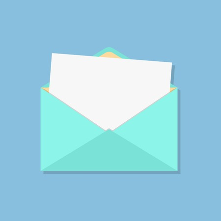 open envelope with white sheet. isolated on blue background. flat style design modern vector illustration Vectores