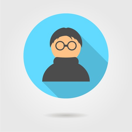 anonymous icon in blue circle with long shadow flat style design modern vector illustration Vector