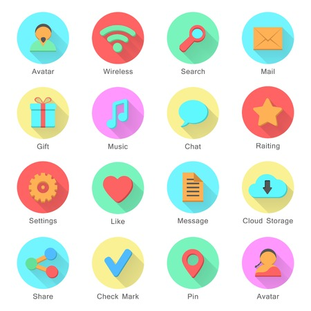icons with long shadow effect in stylish colors of web design objects and social media signs. isolated on white background. flat design style modern vector illustration Vector