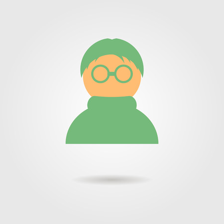 green anonymous icon with shadow. flat style design modern vector illustration Vector