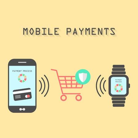 smartphone en horloges met verwerking van beschermde mobiele betalingen van credit card NFC-technologie communicatie concept geïsoleerd op een gele achtergrond platte ontwerp stijl moderne vector illustratie