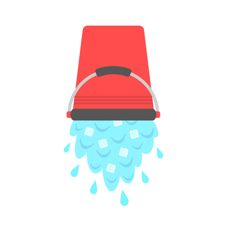 water with ice cubes pouring from red bucket. concept of ice bucket challenge. isolated on white background. flat style design modern vector illustration