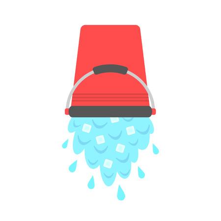 water met ijsblokjes gieten van rode emmer. concept van de ijsemmer uitdaging. geïsoleerd op een witte achtergrond. vlakke stijl ontwerp moderne vector illustratie