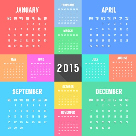 months of the year: calendar of 2015 year with different colored months. design template modern vector illustration