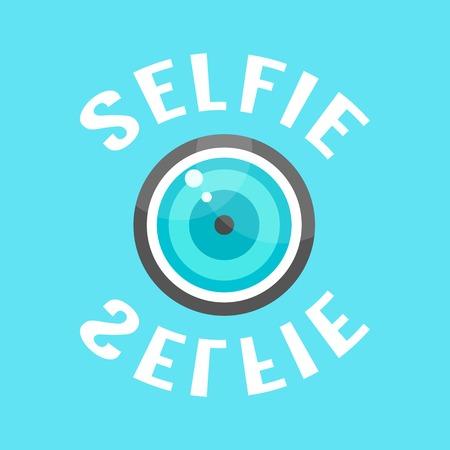 lense: concept of selfie with lense. isolated on blue background. flat style trendy modern eps10 vector illustration Illustration