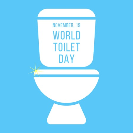 flush toilet: concept of world toilet day with inscription on tank. isolated on blue background. modern vector illustration