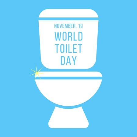 koncepcja dzień świat toaletowego z napisem na zbiorniku. samodzielnie na niebieskim tle. Nowoczesny ilustracji wektorowych Ilustracje wektorowe