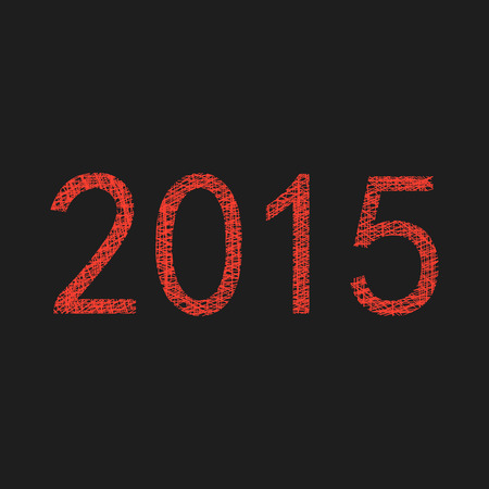 red 2015 year sketch. isolated on black background. modern vector illustration Vector