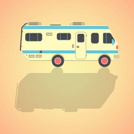 yellow travel camper van with shadow. isolated on stylish background. flat style design modern vector illustration Vector