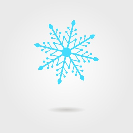 lightweight ornaments: blue snowflake icon with shadow. isolated on stylish background. modern vector illustration