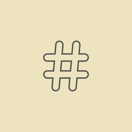 Décrire icône noire hashtag isolé sur fond jaune foncé. vecteur illustration moderne Banque d'images - 35770166