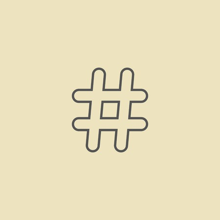 outline black hashtag icon isolated on dark yellow background. modern vector illustration