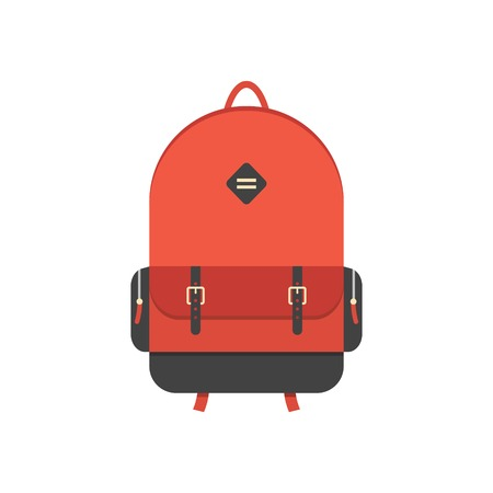 red backpack isolated on white background.  Illustration