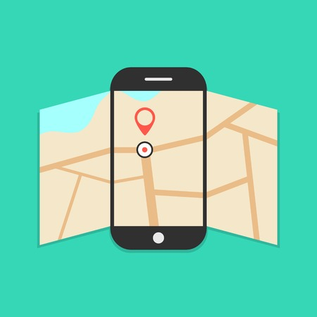 smartphone with opened map isolated on green background.  Vector