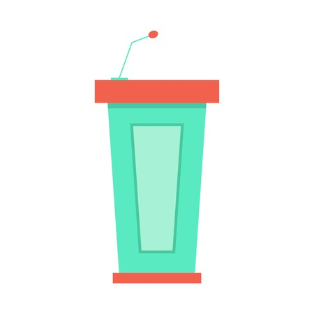 green trapezoidal tribune icon with microphone.  Illustration