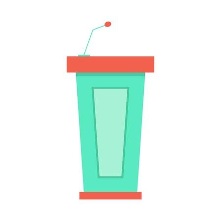 green trapezoidal tribune icon with microphone.  Vettoriali