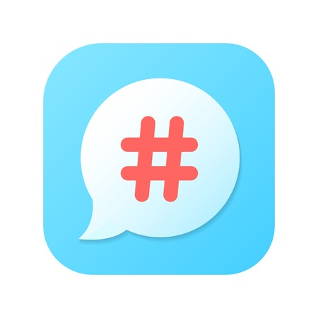 red hashtag icon on blue gradient speech bubble. isolated on white background. trendy modern vector illustration Vector