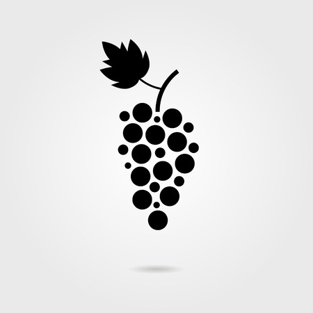 black grapes icon with shadow. isolated on stylish background. logo design modern vector illustration  イラスト・ベクター素材