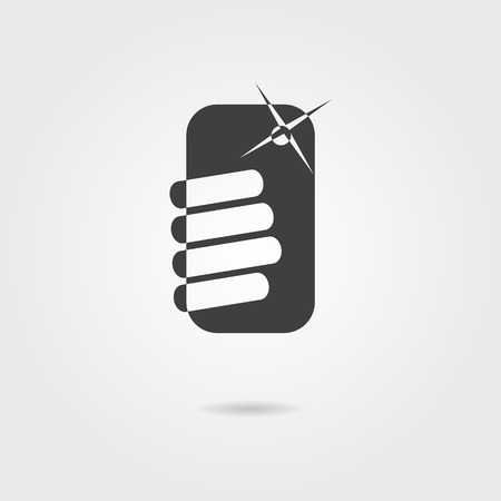black selfie icon with shadow. isolated on stylish grey background. trendy modern vector illustration