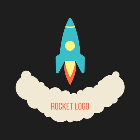 rocket launch logo isolated on black background. concept of startup business. flat style design trendy modern vector illustration
