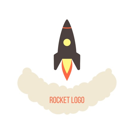 booster: rocket launch logo isolated on white background. concept of startup business. flat style design trendy modern vector illustration