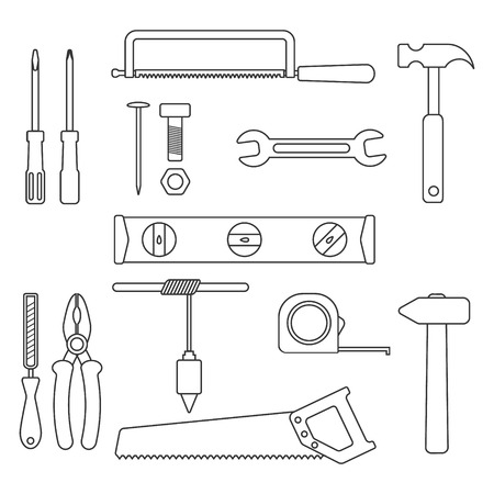 pincers: set of black outline tools. isolated on white background. trendy modern vector illustration Illustration