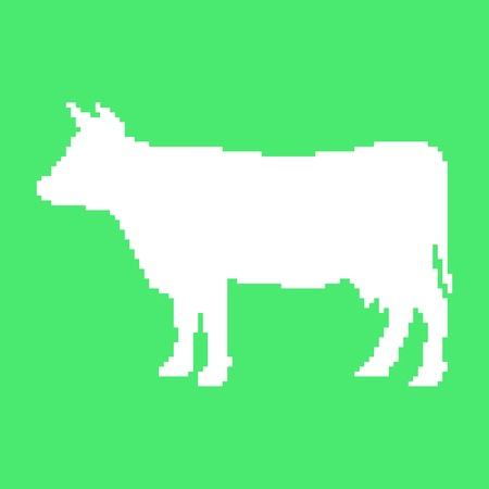 white cow in pixel art. isolated on green background. trendy modern vector illustration Vector
