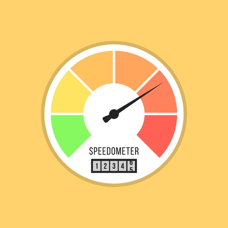 kilometer: speedometer icon isolated on yellow background. flat style design vector illustration