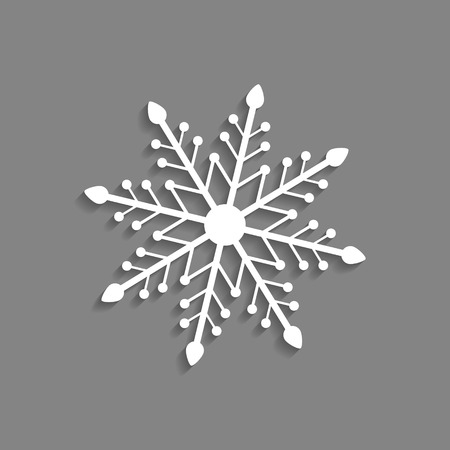 lightweight ornaments: white snowflake icon isolated on dark grey background. modern vector illustration