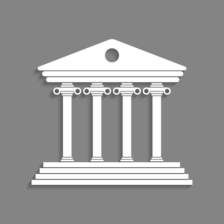 white greek colonnade isolated on dark grey background. trendy modern vector illustration