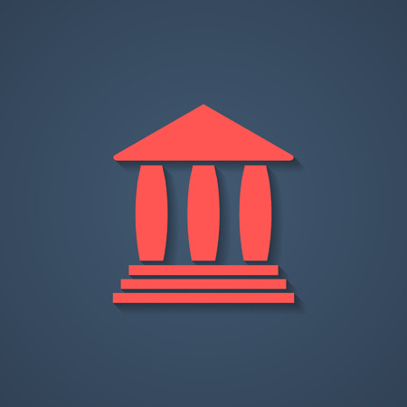 roman column: red bank or greek colonnade icon with shadow. concept of lawyer, justice palace, judge, monumental facade and courtroom. isolated on stylish background. logo branding design modern vector illustration