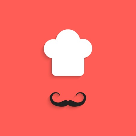 fine cuisine: chef icon with mustache isolated on red background. flat style design trendy modern vector illustration Illustration