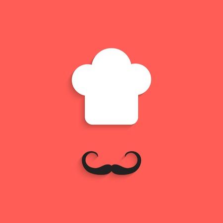 fine cuisine: Icona chef con i baffi isolato su sfondo rosso. design in stile appartamento moderno e alla moda illustrazione vettoriale Vettoriali