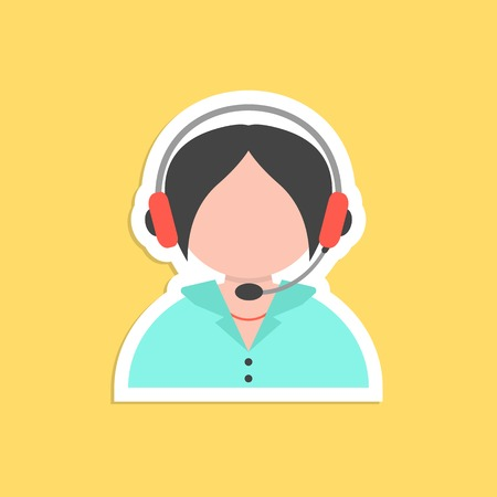 hotel reception: girl call center avatar sticker. concept of 24 hours client services, hotel reception, on-line shopping and communication. isolated on yellow background. flat style trendy modern vector illustration