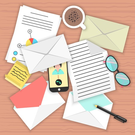 concept analysis of correspondence on the table. top view of desk background with smartphone, open and closed envelopes, office objects, coffee and documents. flat style modern vector illustration Vector
