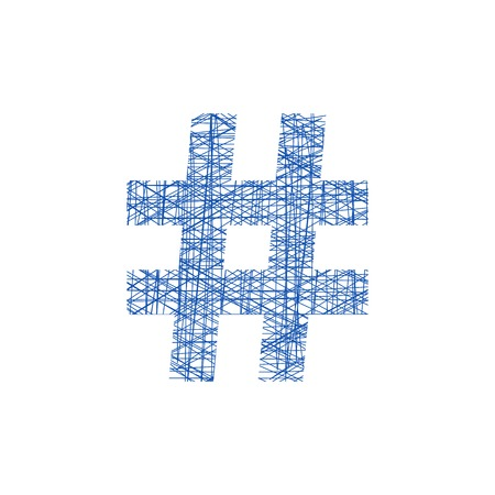 blue hashtag icon in sketch style. concept of number sign and social media. isolated on white background. modern vector illustration
