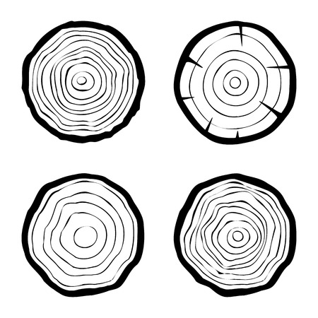 tree trunks: set of four tree rings icons. concept of saw cut tree trunk, forestry and sawmill. isolated on white background. logo design trendy modern vector illustration