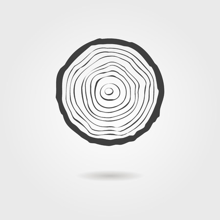 forestry: black tree rings icon with shadow. concept of saw cut tree trunk, forestry and sawmill. isolated on white background. logo design trendy modern vector illustration