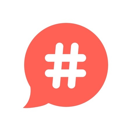 white hashtag icon in red speech bubble. concept of number sign, social media and web communicate. isolated on white background. flat style trendy modern vector illustration Illustration
