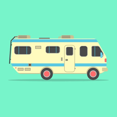 family van: yellow travel camper van isolated on green background. concept of outdoor recreation and travel around the world. flat style design trendy modern vector illustration