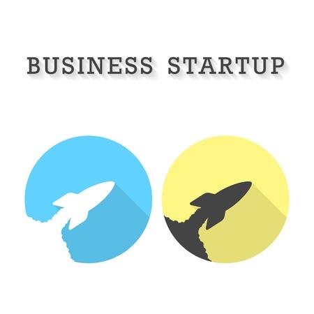 emprendimiento: inicio de negocios con dos cohetes despegar iconos. concepto de peque�a empresa y el esp�ritu empresarial. aislado en el fondo blanco. Logotipo de dise�o de moda ilustraci�n vectorial moderna